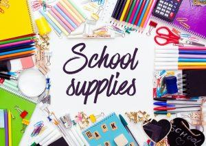 A photo of school supplies